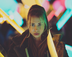 Winter Lights with Helly (AndyBakerUK) Tags: winterlights bakeroninsta andybakeruk andybakerphotography helly model neon canarywharf london 85mm sonyalphadslr sonya7riii sonyimages sony sel85f18 portrait portraiture eyes