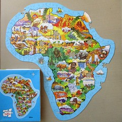 Africa (pefkosmad) Tags: jigsaw puzzle hobby leisure pastime waddingtons map africa incomplete missingpieces jigmap placenames continent