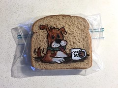 Coffee with a Dog (D Laferriere) Tags: morning dog puppy pup coffee ming markers drawing bread attleboro laferriere dad sandwichbagdad sandwichbagart sandwich bag art sharpie sharpies