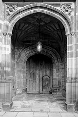 Chester Cathedral doorway (timnutt) Tags: cheshire x100t building cathedral church chester friends fuji citybreak fujifilm x100 mono monochrome bw blackandwhite blackwhite