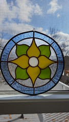 Blue Circle Flower Stained Glass from Graphix Glass (mstevens8080) Tags: graphixglass stainedglass etsy blue flower circle