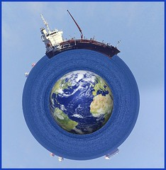 Circumnavigation..... (BIKEPILOT, Thx for + 6,000,000 views) Tags: water wet sailing ship cargo earth photoshopped photoshop vessel phoroscapexpro fun round blue sea boat circumnavigation