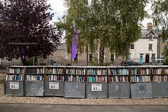 open air bookshelves outside Hay Cinema Bookshop, Hay-on-Wye (hueymilunz) Tags: newzealandtransition wales uk travel street life