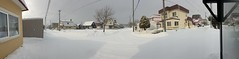 Not Quite a Blizzard (sjrankin) Tags: 24january2020 edited weather ice kitahiroshima hokkaido japan panorama snow wind clouds houses trees lines roads wires