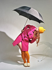 Shannon 11 (neohypofilms) Tags: series retro vintage style fashion rain studio umbrella hat raincoat girl model twiggy stockings shoes clogs 60s medium format hasselblad 120 film color colour photography