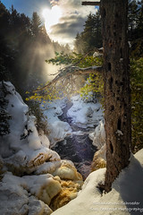 A magical moment, Bad River gorge (susannevonschroeder) Tags: wisconsin canyon forest light magic river snow sun sunrays trees waterfall winter park copperfallsstatepark gorge badriver