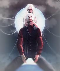 Moonie and Stew - Dream-world (Moonie Ghanduhar - Client List Closed) Tags: sl secondlife digitalart digitalpainting moonieghanduhar dreamworld stew fantasy vampire dark goth black moon virtualworld virtualwoman people