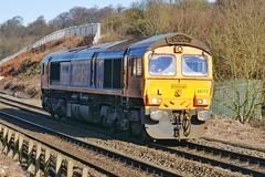 GBRf Loner (JohnGreyTurner) Tags: br rail uk railway train transport diesel engine chesterfield derbyshire 66 class66 shed gbrf gb railfreight light locomotive