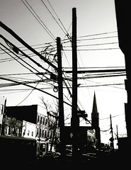 same corner, different point of view. (Manhattan Girl) Tags: shellykayphotography longislandcity queens bwphotography powerlines electricity telephonepoles monochromatic