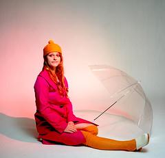 Shannon 21 (neohypofilms) Tags: series retro vintage style fashion rain studio umbrella hat raincoat girl model twiggy stockings shoes clogs 60s medium format hasselblad 120 film color colour photography