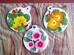 Cactus Commission (M.P.N.texan) Tags: art plant plants botanical handpainted original cactus cacti flower flowers flowering bloom blooms blooming opuntia pricklypear ceramic mpn