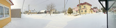 Not Quite a Blizzard, variant (sjrankin) Tags: 24january2020 edited weather ice kitahiroshima hokkaido japan panorama snow wind clouds houses trees lines roads wires