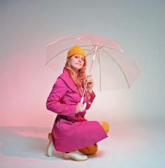 Shannon 4 (neohypofilms) Tags: series retro vintage style fashion rain studio umbrella hat raincoat girl model twiggy stockings shoes clogs 60s medium format hasselblad 120 film color colour photography