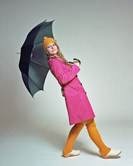 Shannon 3 (neohypofilms) Tags: series retro vintage style fashion rain studio umbrella hat raincoat girl model twiggy stockings shoes clogs 60s medium format hasselblad 120 film color colour photography