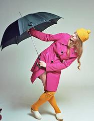 Shannon 2 (neohypofilms) Tags: series retro vintage style fashion rain studio umbrella hat raincoat girl model twiggy stockings shoes clogs 60s medium format hasselblad 120 film color colour photography