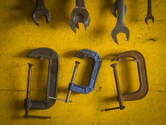 C clamps and wrenches (citrusjig) Tags: olympus omdem10 helios44258mmf2 tools machineshop