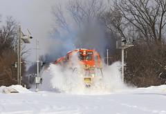 Poof (GLC 392) Tags: sparta mi michigan emd sd402 3407 3408 3406 3389 z151 marquette rail mqt railroad railway train snow drift hit poof exhaust smoke