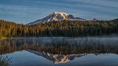 Yet Another... (writing with light 2422 (Not Pro)) Tags: highcontrast dawn sunrise mountrainiernationalpark mountrainier reflectionlake lake reflections mountain volcano stratovolcano forest blue pacificnorthwest pnw richborder rich border landscape washingtonstate view fog firtrees