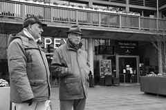 At the Apex (Bury Gardener) Tags: suffolk streetphotography street streetcandids snaps strangers candid candids people peoplewatching nikond7200 nikon england eastanglia europe burystedmunds bw blackandwhite britain monochrome mono 2019 arc thearc