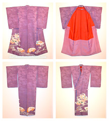 Refined Flowers (Kurokami) Tags: lindsay ontario canada kimono japan japanese asia asian woman women girl girls lady ladies traditional kitsuke irotomesode tomesode refine refined flower flowers floral sensu fan fans chrysanthemum kiku pulownia kiri hollyhock clover inzu silk antique vintage showa taisho era period