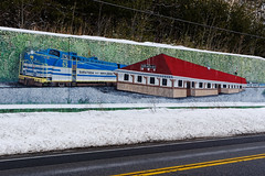 Highway Mural (fotofish64) Tags: mural wallmural wallart train trainstation nostalgic americana paintedmural roadside route9n corinth snow winter pavement color blue red saratogaandnorthcreek railroad outdoor saratogacounty capitaldistrict newyork pentax pentaxart kmount k70 sigma1750mmf28lens durant