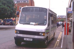 Dartline ( Dealtop Exeter Ltd ) . Clyst St Mary , Devon . KIW4489 ( ex F896BCY ) . Exeter St David's Railway Station , Devon . 13th-June-2000 . (AndrewHA's) Tags: bus minibus dartline dealtop exeter devon kiw4489 f896bcy mercedes benz 709d robin hood second hand west glamorgan county council