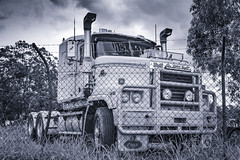 Big Mack (hotpotato70) Tags: brisbane queensland australia canon 90d tamron2470mmf28 2470mm monochrome lightroom photoshop trucking truck silverefexpro2 clouds blackwhite vehicle lorry mack primemover tractorunit bulldog used abandoned old road train b double beast moody