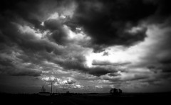 The Country IV (mgneb) Tags: bw black white mono monochrome noir blanc blanco bianco nero negro marne champagne ardenne est noiretblanc nb campagne champ country france trees lines clouds sky contrast dark shadows grain texture road fields mood atmosphere