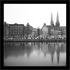 Lübeck, analog Hasselblad 500 C/M, Distagon 3.5/60mm, ND 1000 (Dierk Topp) Tags: 6x6 bw hasselbladdistagon3560mm ilfordpanf xtol analog architecture habour hasselblad500cm longtimeexposure lübeck monochrom sw trave wasser water