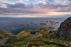 Festvågtinden Hike, Henningsvaer - Lofoten Islands (Norway) (Andrea Moscato) Tags: andreamoscato norvegia norge bokmål nynorsk north europe view vivid vista day light luce shadow ombre blue white red yellow cielo sky water sea reflection riflesso art artist clouds nature natura nuvole natural naturale fiordo fiord mountain montagna mare landscape deep path trail trekking hiking history historic panorama monument tourist attraction scogliera cliff rock stones air overlook fishing village city città cityscape island sun sunset dusk tramonto orange road street top evening paesaggio