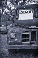 One Careful Owner (hotpotato70) Tags: brisbane queensland australia canon 90d tamron2470mmf28 2470mm monochrome lightroom photoshop trucking truck silverefexpro2 clouds blackwhite vehicle lorry pullenvale anstead ute pickup rusty old forsale trees abandoned