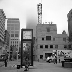 8:17 am (kaumpphoto) Tags: rolleiflex 120 tlr ilford bw black white city urban street clock time building minneapolis fog wcco