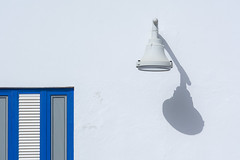 Lamp and blue window (Jan van der Wolf) Tags: map194197v lamp light shadow blue blauw window raam white lanzarote