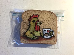 Morning Coffee with a Chicken (D Laferriere) Tags: egg hen chicken mug coffee cartoon markers drawing bread attleboro laferriere dad sandwichbagdad sandwichbagart sandwich bag art sharpie sharpies