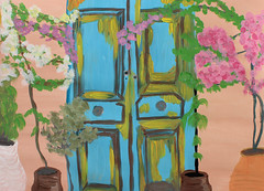 The old door (Argyro Poursanidou) Tags: door old decay flower pot wall nature drawing painting colors art