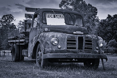 Runs Like a Dream (hotpotato70) Tags: brisbane queensland australia canon 90d tamron2470mmf28 2470mm monochrome lightroom photoshop trucking truck silverefexpro2 clouds blackwhite vehicle lorry pullenvale anstead ute pickup rusty old forsale trees abandoned