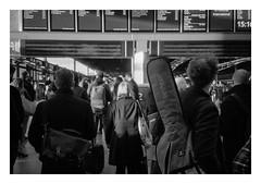 FILM - Departure (fishyfish_arcade) Tags: 35mm analogphotography bw blackwhite filmphotography filmisnotdead istillshootfilm kentmere400 monochrome pentaxespio140m analogcamera compact film mono london stpancras railwaystation guitar