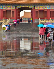 Forbidden City palace in the rain (German Vogel) Tags: puddle rainy rain reflection mirrored waterreflection palace historicalsite history 15thcentury asia travel tourism traveldestinations touristattractions famousplace eastasia china beijing peking capitalcities locallandmark nationallandmark chineseculture forbiddencity palacemuseum mingdynasty qingdynasty
