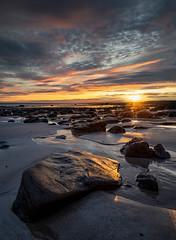Sunrise (jasty78) Tags: rock beach sunrise sea starburst sunburst light sun seascape sand clouds warm rays kingsbarnbeach fife scotland nikon d810 nikond810 1635mm 16mm nikkor1635mm nikkor1635mmf40