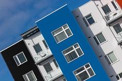 Windows (Karen_Chappell) Tags: windows blue white black building tilt angle colour color colourful architecture stjohns pleasantville balconies balcony newfoundland nfld canada eastcoast atlanticcanada avalonpeninsula city urban