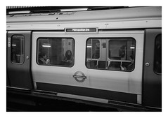 FILM - Metropolitan Line (fishyfish_arcade) Tags: 35mm analogphotography bw blackwhite filmphotography filmisnotdead istillshootfilm kentmere400 monochrome pentaxespio140m analogcamera compact film mono london londonunderground streetphotography