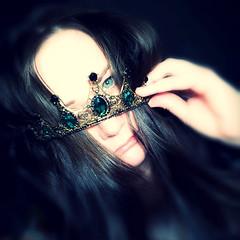 I'm feeling it (Damien Klein) Tags: selfie self tiara crown green eyes hair dark darkness feelings emotions