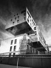 Architecture contemporaine (Duric) Tags: noiretblanc blackandwhite bw blancoynegro architecture urbain ville lyon france modernisme contemporain cubes structure bâtiment confluence