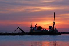 Dredge (Damian Gadal) Tags: dredge santabarbara california harbor nautical sunrise silhoutte