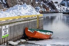 Orange Dory (Karen_Chappell) Tags: quidividi boat dory orange yellow snow winter january nfld newfoundland rural stjohns water ocean atlanticcanada atlantic avalonpeninsula eastcoast wharf dock pier sign ice green sheds canonef24105mmf4lisusm