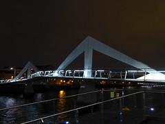 Tradeston Footbridge (aka the Squiggly Bridge) at night, Glasgow (luckypenguin) Tags: scotland glasgow riverclyde night nightphotography bridge tradeston squigglybridge