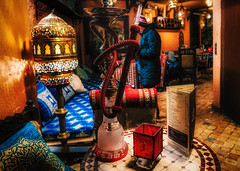 Aladdin's cave: come on in! (Мaistora) Tags: color colour light bright vivid vibrant dark lighting mystery cozy warm inviting food aroma smell grill spices arab oriental middleeastern african maghreb morocco moroccan mediterranean cooking cuisine restaurant delights yellow orange red blue green gold brass bronze tiles fabrics decor decoration interior design culture street entrance entryway corridor tunnel inside inward welcome london england britain uk leica typ109 dlux lightroom skylum luminar market oldtown soukmedina coventgarden