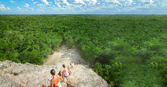 Tourists descending amazing Nohoch Mul Pyramid in Coba,Quintana Roo, Mexico (My Cancun Tours) Tags: coba mexico temple pyramid mayan ancient yucatan travel tourism culture civilization archaeological old architecture stone history maya monument jungle climbing tourists ruins mul nohoch landmark people spain