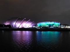 SEC Armadillo and SSE Hydro at night (luckypenguin) Tags: scotland glasgow riverclyde night nightphotography sec secc armadillo ssehydro