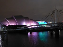 Bell's Bridge, Armadillo and River Clyde at night (luckypenguin) Tags: scotland glasgow riverclyde night nightphotography bridge bellsbridge sec secc armadillo